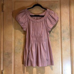 BCBG Maxazria Millennial Pink Peasant blouse